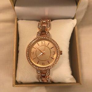 Pave Rose Gold Tone Bracelet Watch